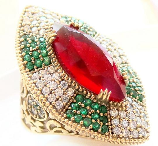 Other Stunning LARGE Genuine Ruby, Natural Emerald and White Topaz Sterling Silver Ring 8.5