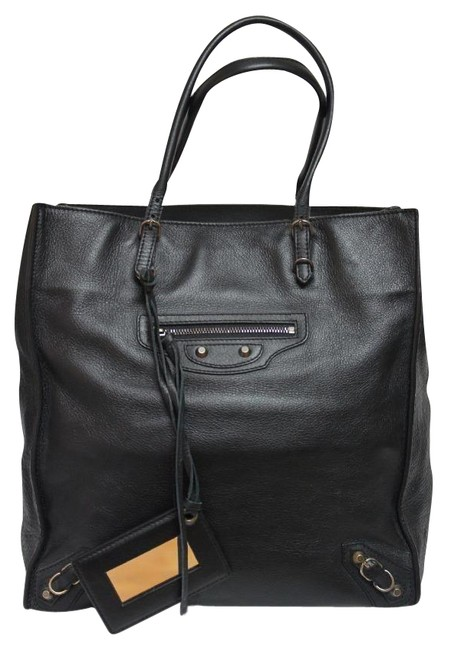 Item - Bag Papier A5 Small Black Leather Tote