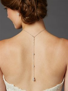 Mariell Delicate Back Necklace With Spectacular Austrian Crystal Rhinestone Fireballs- Handmade