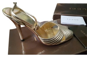 Gucci Leather Gold Sandals