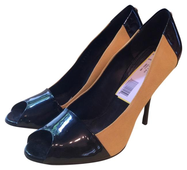 Item - Black and Yellow Suede Patent Leather Heels Formal Shoes Size US 7 Regular (M, B)