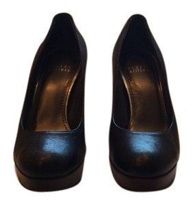 Stuart Weitzman Heel Platform Classic Black with brown wooden sole Platforms