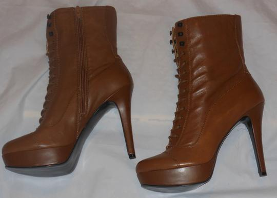 Nine West Platform Stiletto Leather Tan Brown Boots