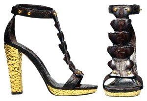 Tom Ford Crocodile Gold Heel Sandals
