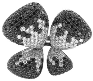Black and White Diamond Butterfly Cocktail Ring