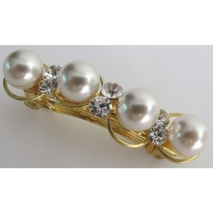 Bridal Barrette Golden Tone 10mm White Pearls & Crystals