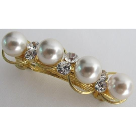 White/Golden Barrette Tone 10mm Pearls Crystals Hair Accessory