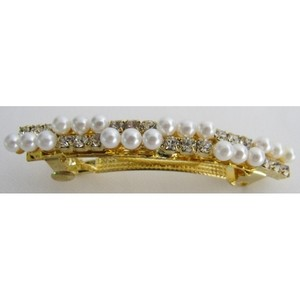 White/Golden Pin Inexpensive Clip Pearls Gold Barrette Hair Accessory