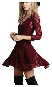 short dress Deep Red Bohemian Free People on Tradesy
