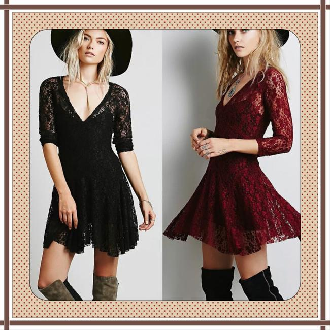 Other short dress Deep Red Bohemian Free People Anthropology Hippie Vintage Boho Women Girls Lace Juniors Graduation Party Wedding Mini V Neck Sexy on Tradesy