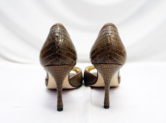 Jimmy Choo Reptile Embossed Leather Cut-out D'orsay Olive Pumps