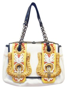 Fendi New B White Patent Embroidered Shoulder Bag