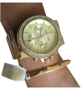 Michael Kors NWT MICHAEL KORS GOLD TONE WATCH AND Gold Tone Cuff Silver Stud Bangle