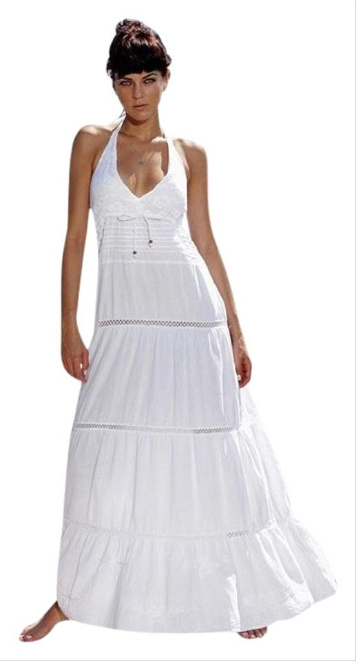 34feaecec089 Lirome White Club Organic Cotton Crochet Yacht Embroidery Casual Maxi Dress