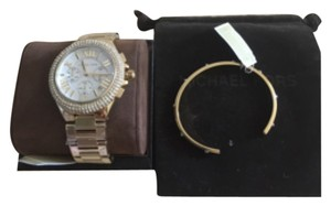 Michael Kors NWT MICHAEL KORS Camille Gold-Tone Glitz WATCH AND Gold Tone Cuff Silver Stud Bangle