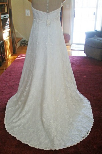 David's Bridal White Lace H9572 Formal Wedding Dress Size 14 (L)
