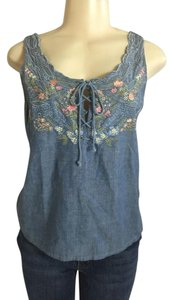 Together Scoop Neck Embroidered Top Blue / Multi