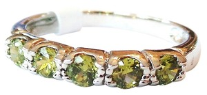 Lovely 5 Stone Peridot Wedding, Anniversary 925 Sterling Silver 14k Band 7.5