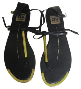 Dolce Vita Archer Sandals Black, Gold Flats