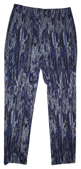 Style & Co Mid Rise: Slim Fit Slim Leg Elastic Waist Printed Skinny Pants Black and Purple