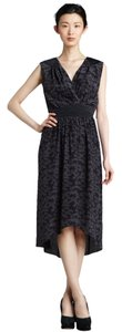 Rebecca Taylor Flatthering Print Midi Floral Black Maxi V-neck Easy Dress