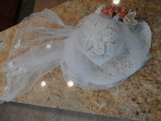 Ivory Satin Organza Gown with Pearls and Lace Appliques Vintage Wedding Dress Size 2 (XS)