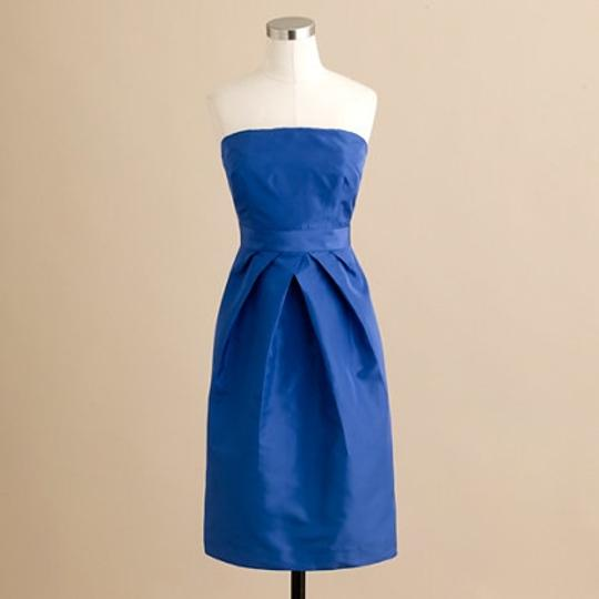 J.Crew Blue Taffeta Kayla Modern Bridesmaid/Mob Dress Size 8 (M)