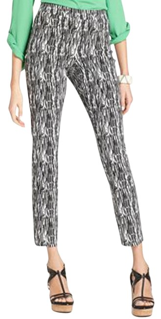 Style & Co Inseam 30 In Printed Throughout Elastic Waist Slim Leg Zipper Front Skinny Pants Black and White