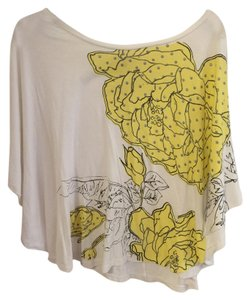 Charlotte Russe Top White with Yellow Floral