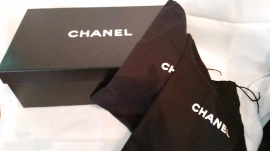 Chanel New Slingback Black leather on black grosgrain Platforms