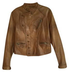 Ralph Lauren Blue Label Motorcycle Military Camel Brown Leather Jacket