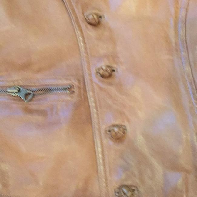 Ralph Lauren Blue Label Motorcycle Military Camel Small Brown Leather Jacket