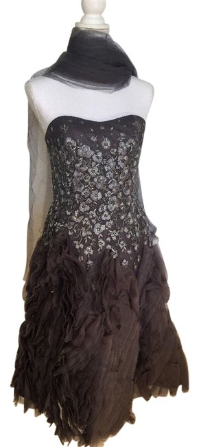 Item - Silver Couture Corset Knee Length Cocktail Dress Size 6 (S)