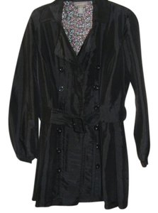 Kenar Peacoat Silk Light Spring Work Fun Black Jacket