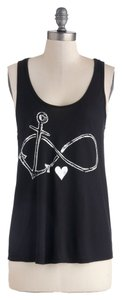 Modcloth Sailor Anchor Cute Rockabilly Heart Infinity Top Black