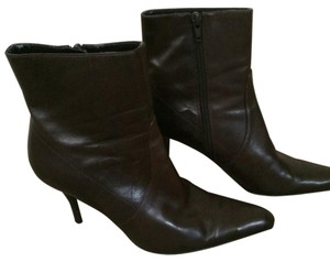 Nine West Stilleto Heels Ankle Zip Up Leather Brown Boots