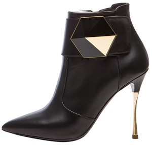 Nicholas Kirkwood Geometric Metallic Ankle Boot Gold Pumps