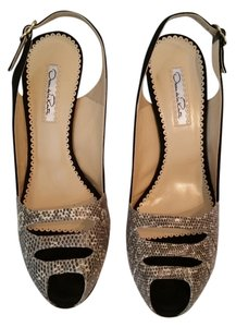 Oscar de la Renta Peeptoe New In Box Black and White Lizard Platforms