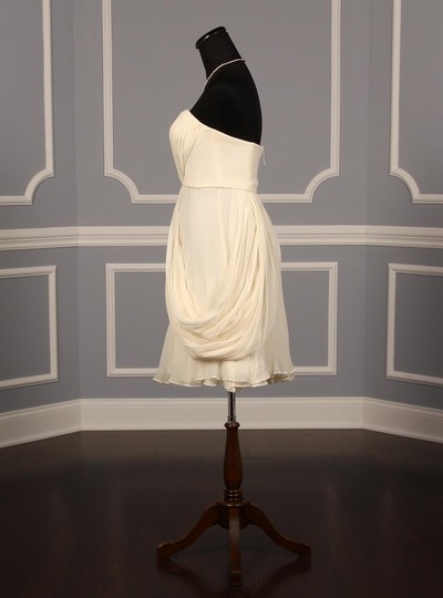 J. Mendel Dark Ivory Silk Chiffon B10d02 Formal Wedding Dress Size 8 (M)