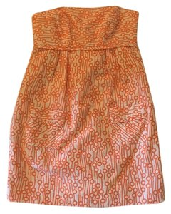 MILLY short dress Orange and white on Tradesy