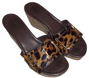 Tory Burch Leopard print with brown and gold Mules