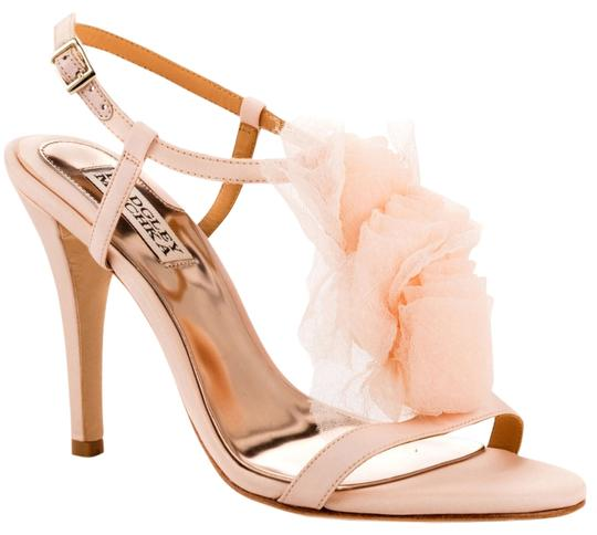 Badgley Mischka Tulle Bridal Wedding Strappy Blush Natural Silk Sandals