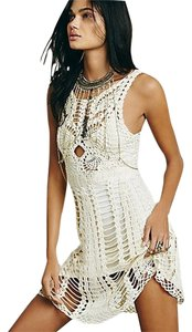 Free People short dress Ivory Macrame Mini Cream Sexy Festival Boho Peasant Coachella on Tradesy