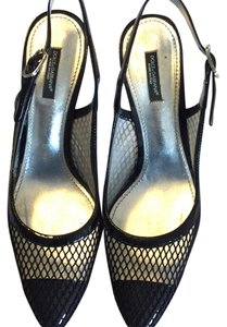 Dolce&Gabbana 39.5 Mesh Fishnet Patent Leather Slingback Black Pumps