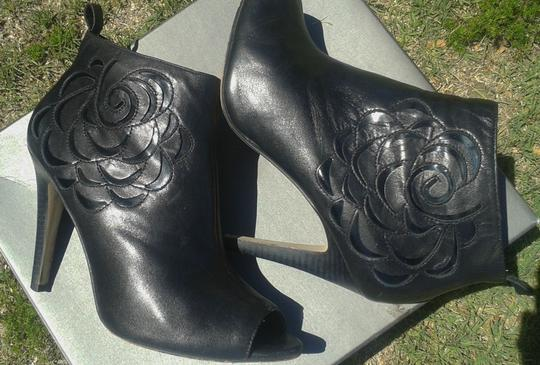 Vince Camuto Leather Open Toe Floral Detail Heeled Leather Black Boots