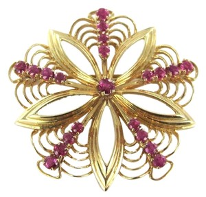 14K KARAT SOLID YELLOW GOLD PIN BROOCH VINTAGE CHRISTMAS 21 RUBIES 8.5DWT FLOWER