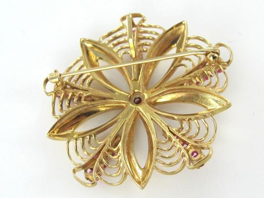 Other 14K KARAT SOLID YELLOW GOLD PIN BROOCH VINTAGE CHRISTMAS 21 RUBIES 8.5DWT FLOWER
