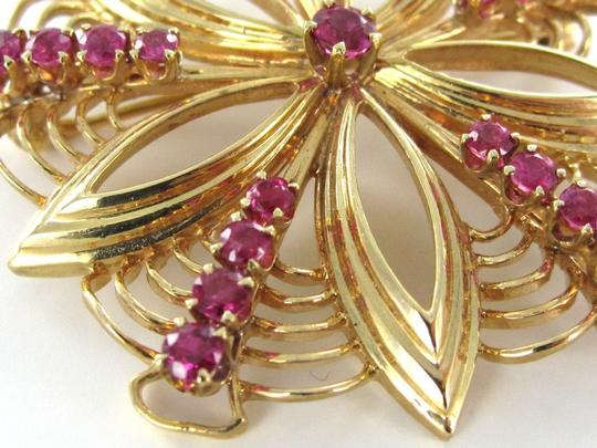 Other 14K KARAT SOLID YELLOW GOLD PIN BROOCH VINTAGE CHRISTMAS RUBIES FLOWER