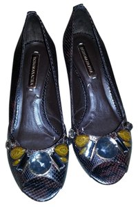 BCBGMAXAZRIA Bcbg Max Azria Wild Pitone Print Rich Brn Leather New Brown Wedges