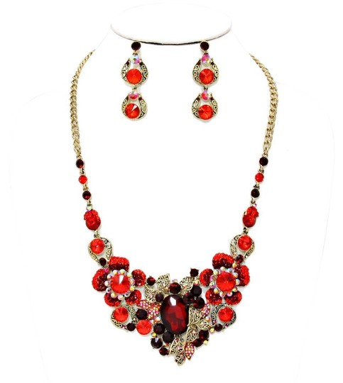Sophia Collection Red Rhinestone Crystal Flower Necklace and Earring